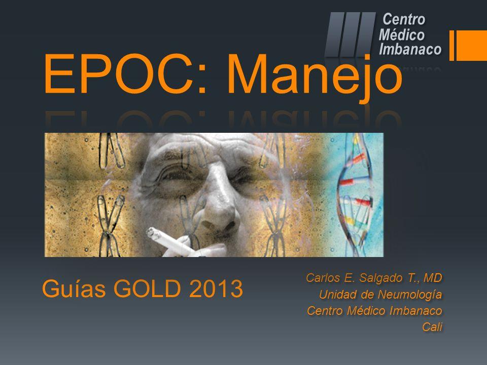 Guías GOLD 2013 Carlos E. Salgado T., MD Unidad de Neumología Centro Médico Imbanaco Cali Carlos E. Salgado T., MD Unidad de Neumología Centro Médico