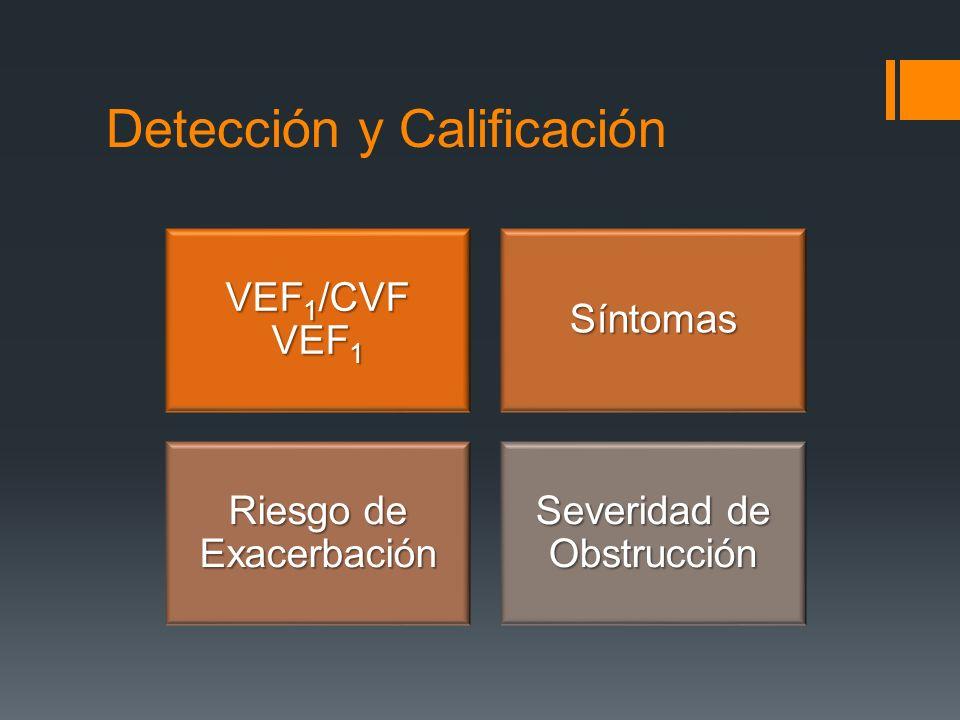 VEF 1 /CVF VEF 1 Síntomas Riesgo de Exacerbación Severidad de Obstrucción Detección y Calificación