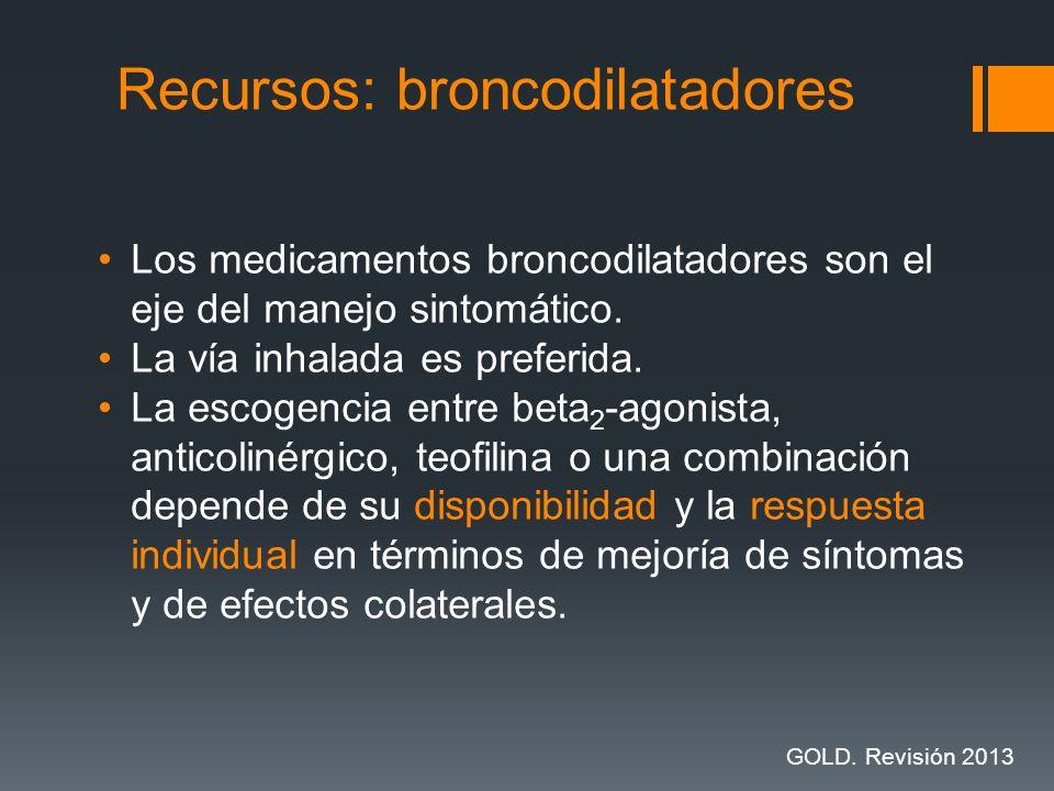 Los medicamentos broncodilatadores son el eje del manejo sintomático. La vía inhalada es preferida. La escogencia entre beta 2 -agonista, anticolinérg