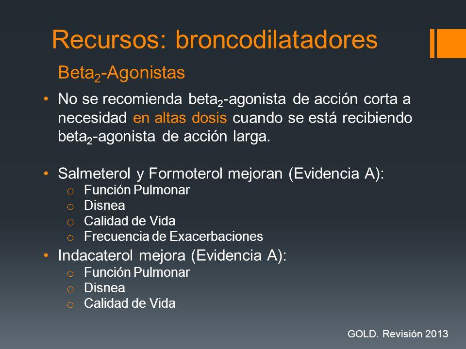 No se recomienda beta 2 -agonista de acción corta a necesidad en altas dosis cuando se está recibiendo beta 2 -agonista de acción larga. Salmeterol y