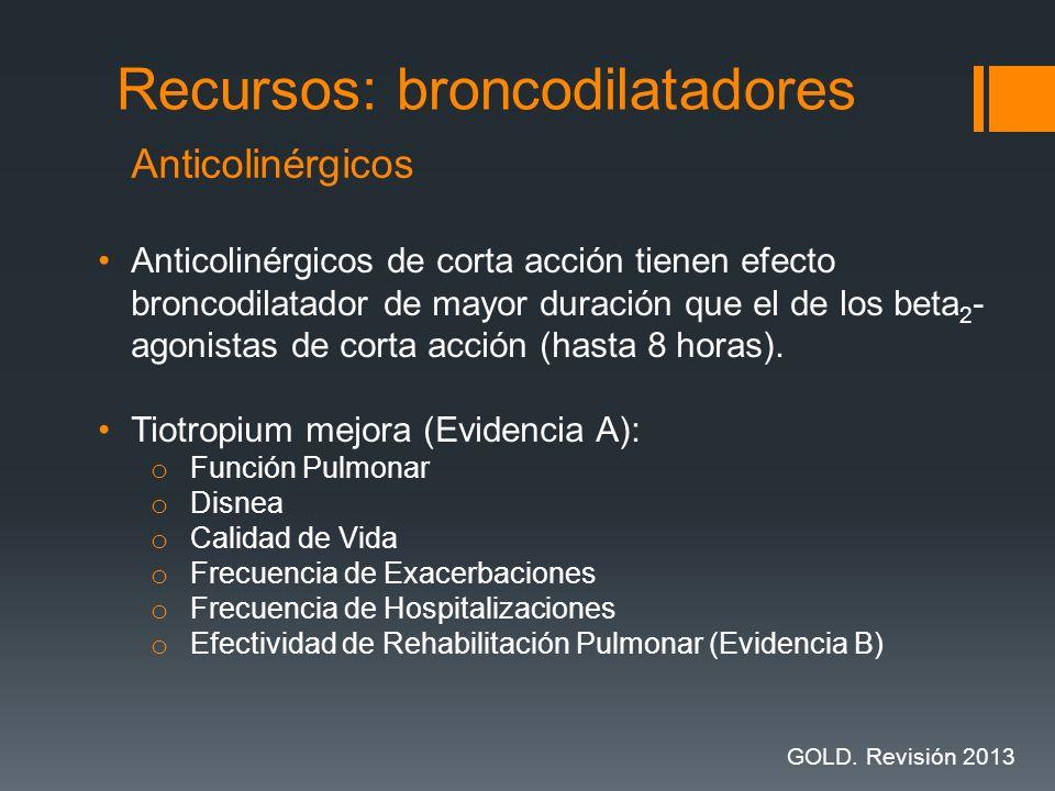 Anticolinérgicos de corta acción tienen efecto broncodilatador de mayor duración que el de los beta 2 - agonistas de corta acción (hasta 8 horas). Tio