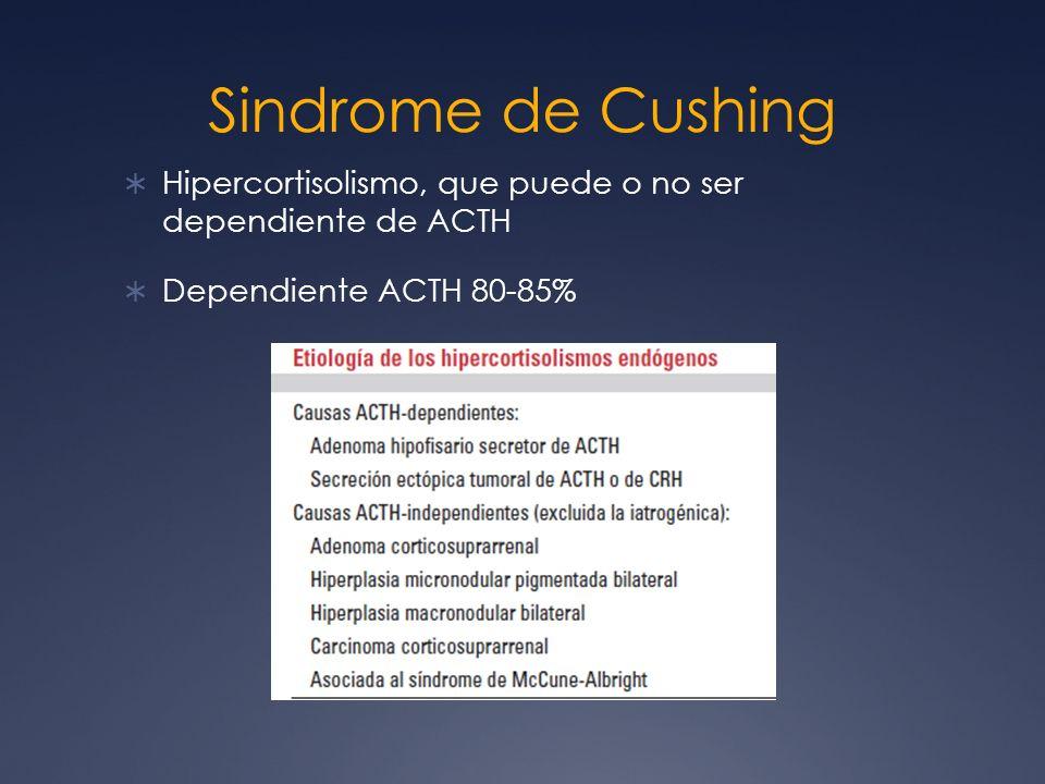 Sindrome de Cushing Hipercortisolismo, que puede o no ser dependiente de ACTH Dependiente ACTH 80-85%