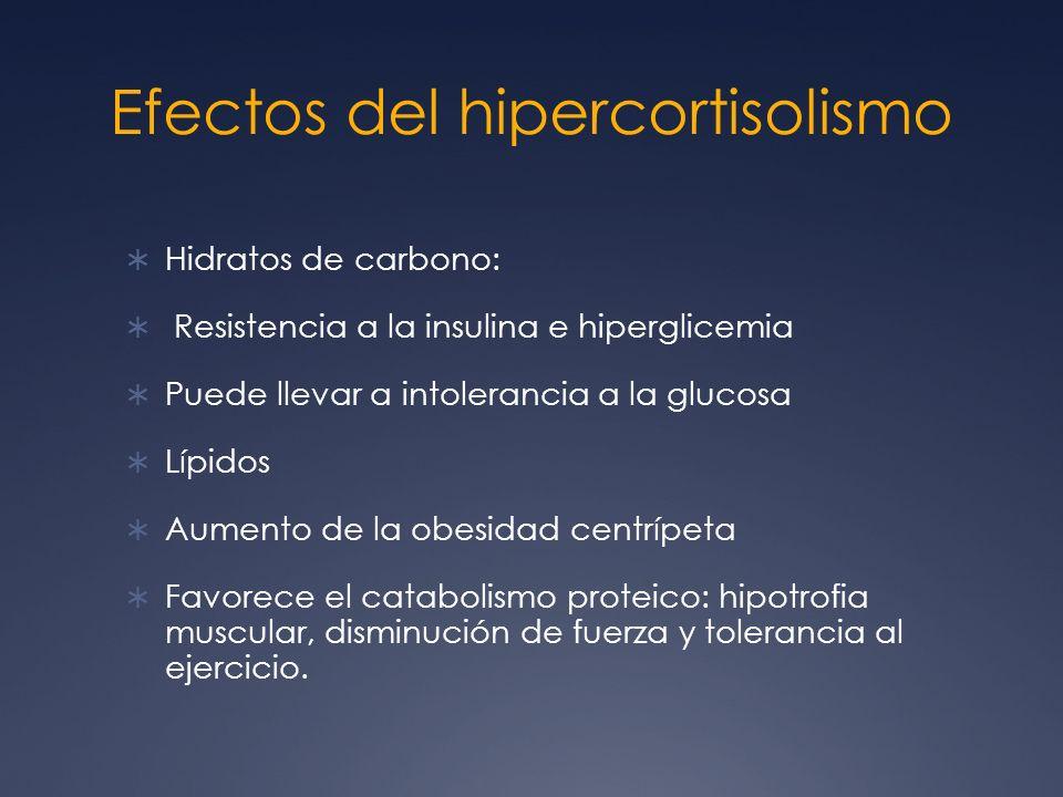Efectos del hipercortisolismo Hidratos de carbono: Resistencia a la insulina e hiperglicemia Puede llevar a intolerancia a la glucosa Lípidos Aumento