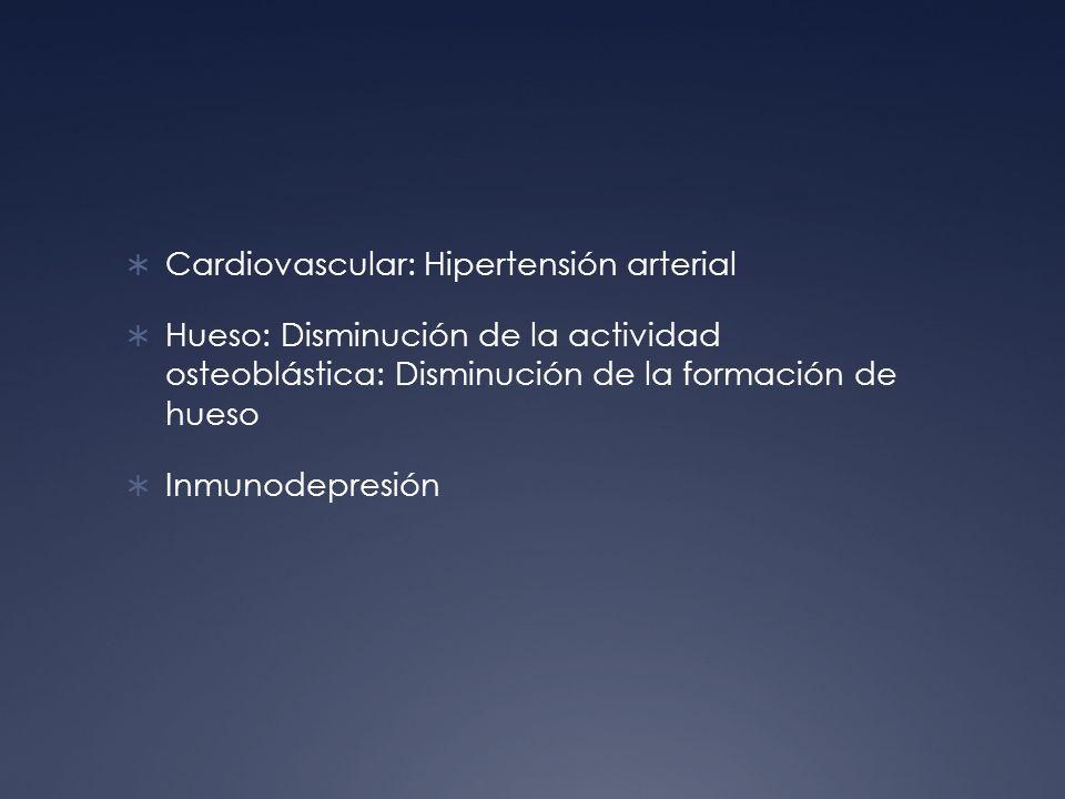 Cardiovascular: Hipertensión arterial Hueso: Disminución de la actividad osteoblástica: Disminución de la formación de hueso Inmunodepresión