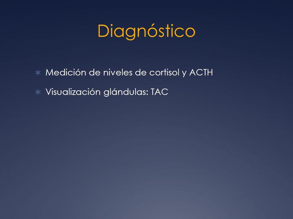 Diagnóstico Medición de niveles de cortisol y ACTH Visualización glándulas: TAC