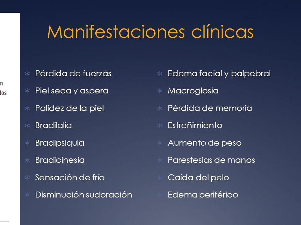 Clínica Manifestaciones siquiátricas: ansiedad y depresión Muscular: Debilidad proximal