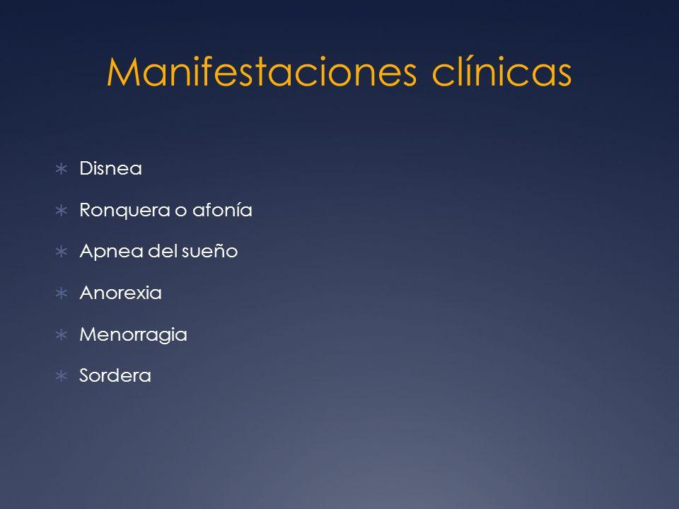 Manifestaciones clínicas Disnea Ronquera o afonía Apnea del sueño Anorexia Menorragia Sordera