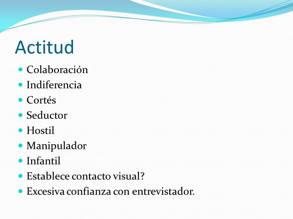 Actitud Colaboración Indiferencia Cortés Seductor Hostil Manipulador Infantil Establece contacto visual? Excesiva confianza con entrevistador.
