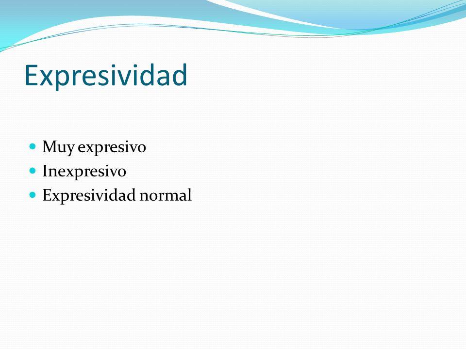 Expresividad Muy expresivo Inexpresivo Expresividad normal