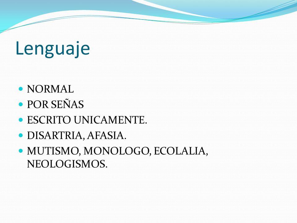 Lenguaje NORMAL POR SEÑAS ESCRITO UNICAMENTE. DISARTRIA, AFASIA. MUTISMO, MONOLOGO, ECOLALIA, NEOLOGISMOS.