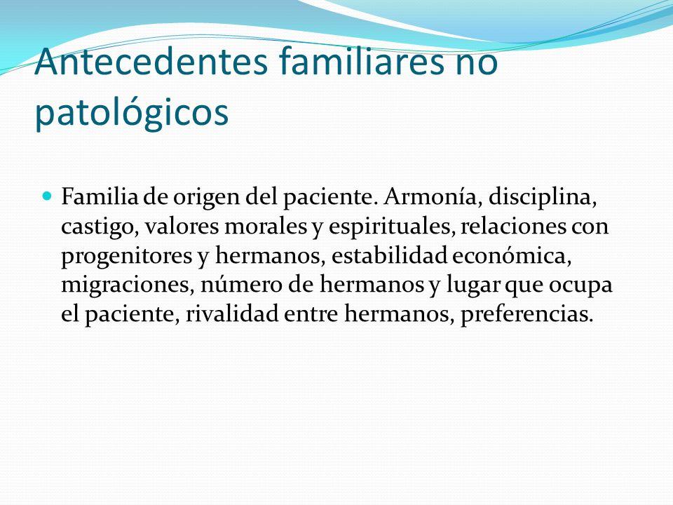 Antecedentes familiares no patológicos Familia de origen del paciente. Armonía, disciplina, castigo, valores morales y espirituales, relaciones con pr
