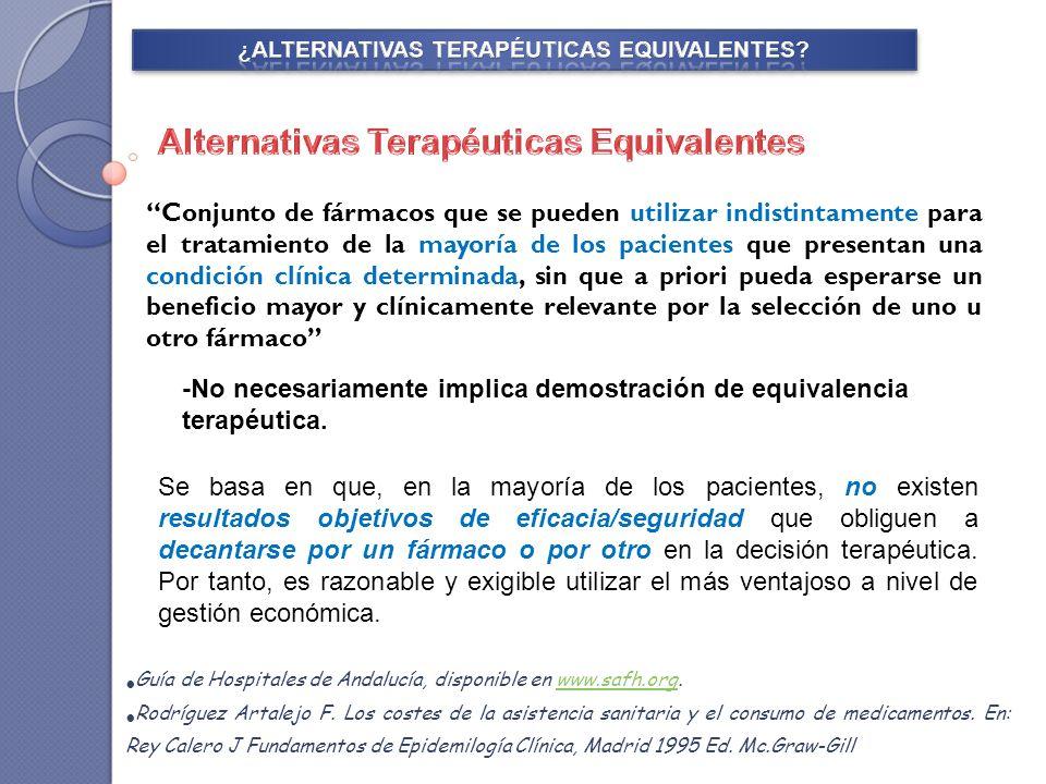 Evaluar la posible equivalencia en cuanto a la eficacia relativa de dos alternativas que se desean comparar para su posicionamiento terapéutico.