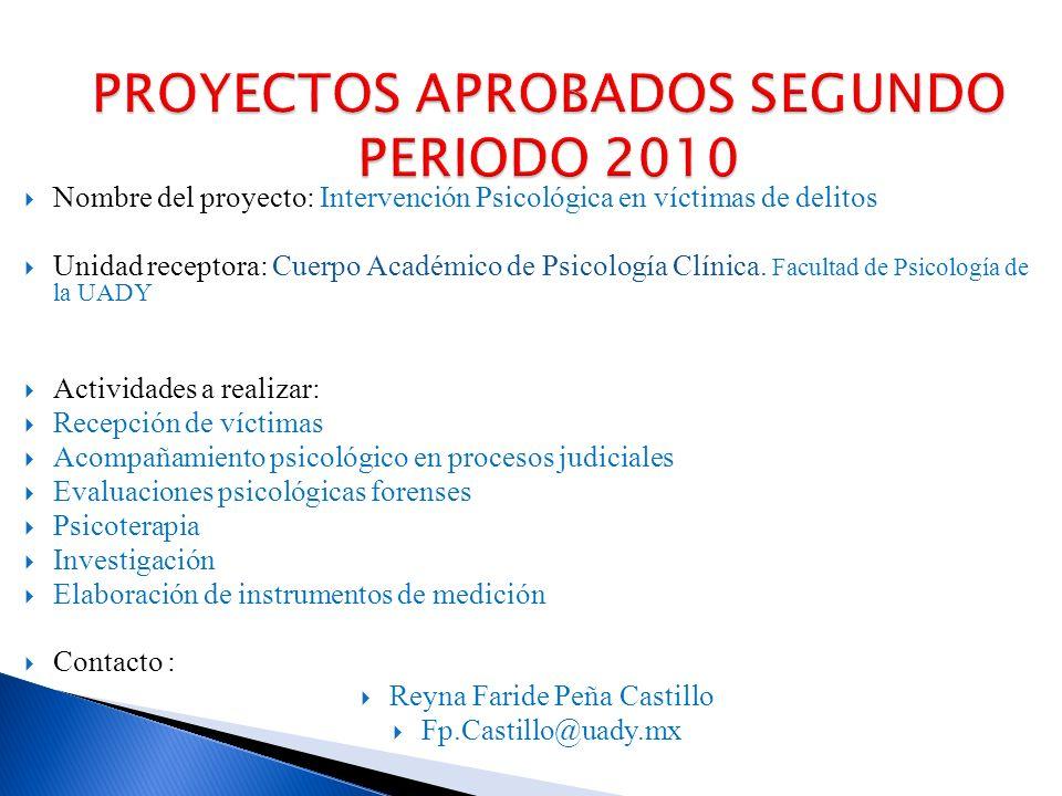 Nombre del proyecto: Intervención Psicológica en víctimas de delitos Unidad receptora: Cuerpo Académico de Psicología Clínica.