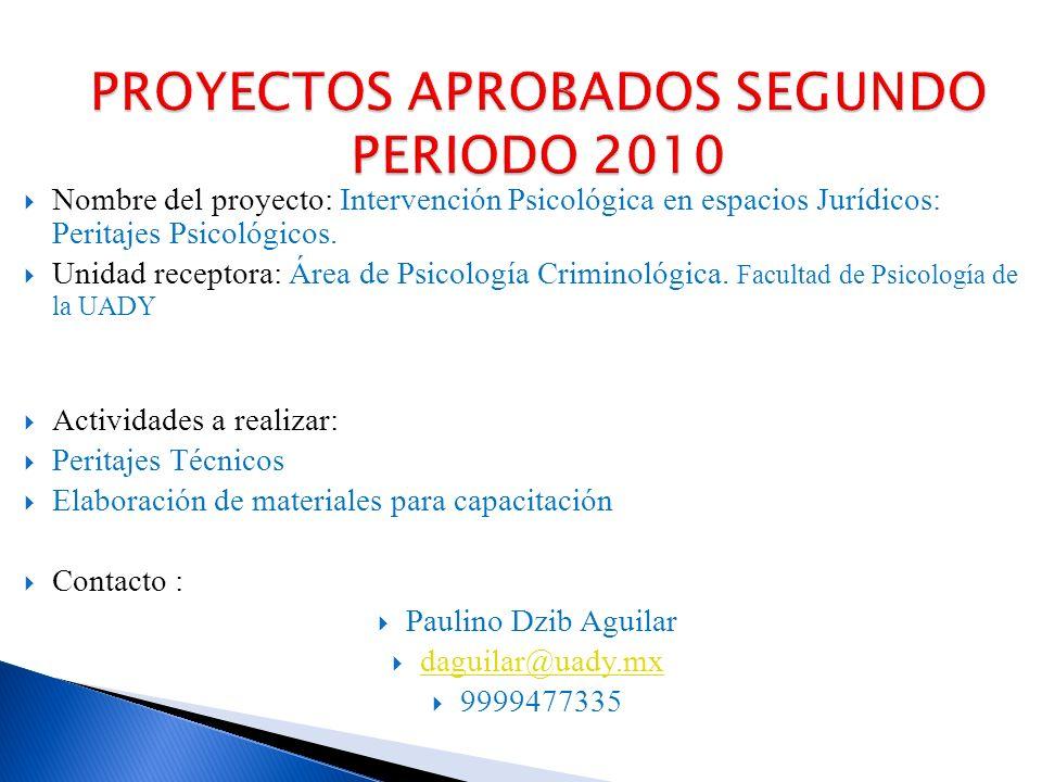 Nombre del proyecto: Intervención Psicológica en espacios Jurídicos: Peritajes Psicológicos.