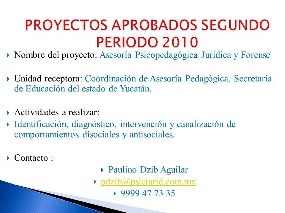 Nombre del proyecto: Servicio Externo de Atención Psicológica Unidad receptora: Cuerpo Académico de Psicología clínica.