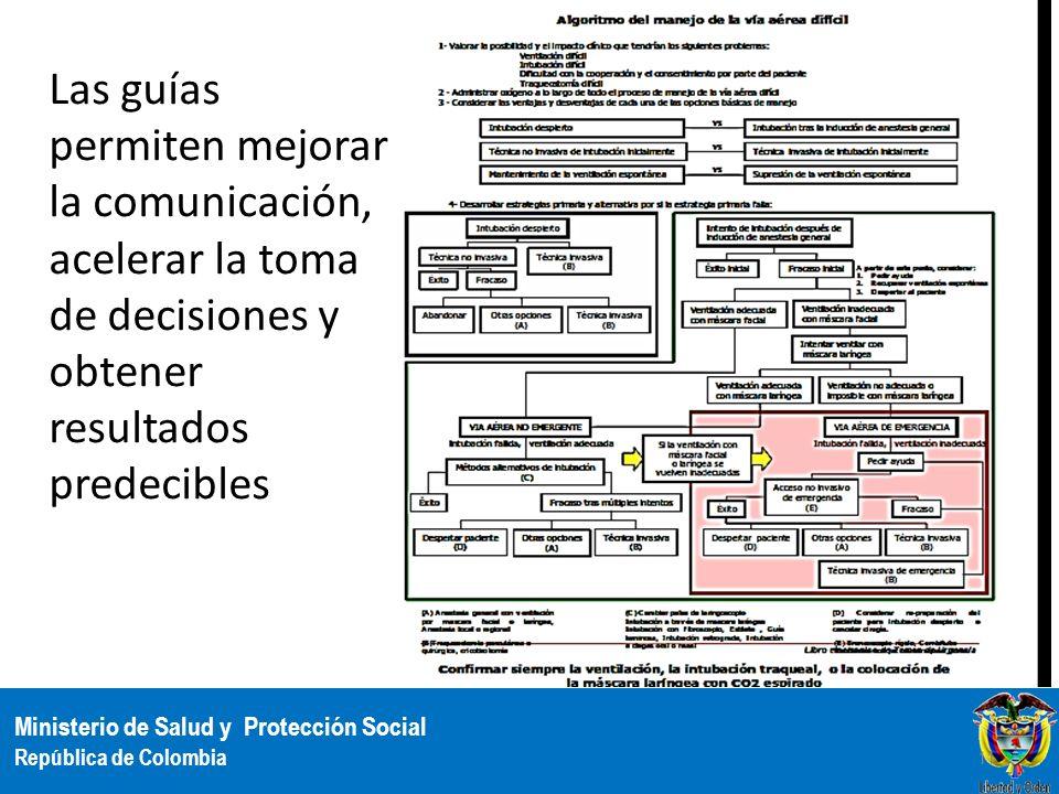 Ministerio de Salud y Protección Social República de Colombia Las guías permiten mejorar la comunicación, acelerar la toma de decisiones y obtener res
