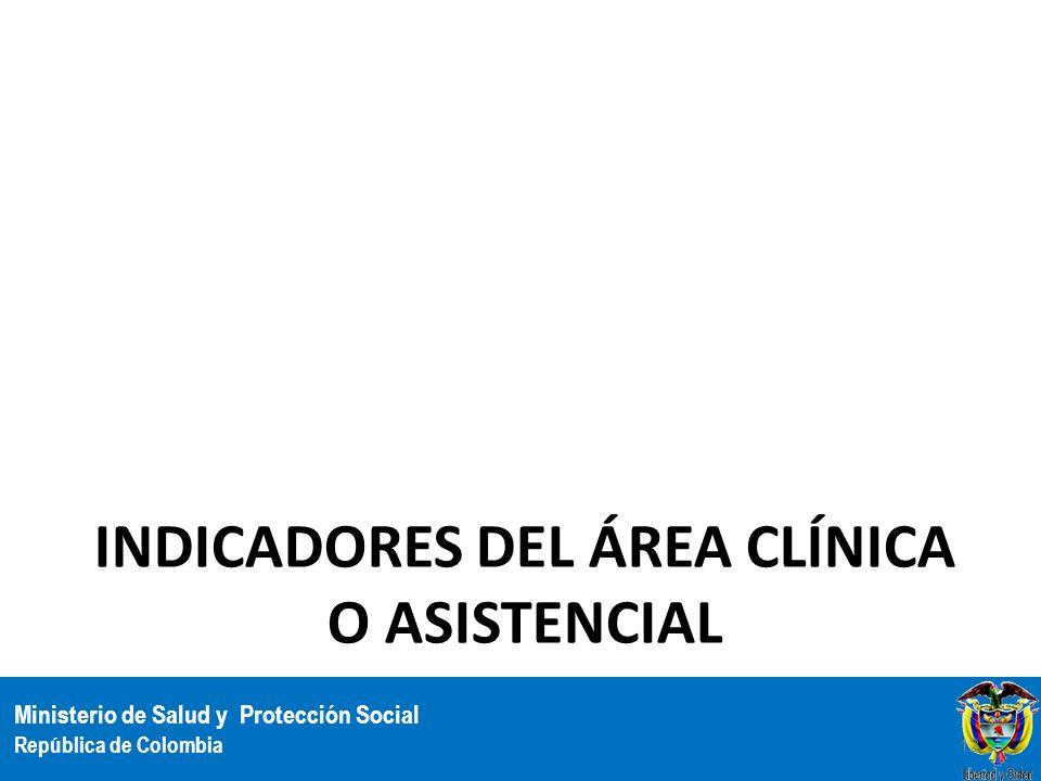 Ministerio de Salud y Protección Social República de Colombia INDICADORES DEL ÁREA CLÍNICA O ASISTENCIAL 12