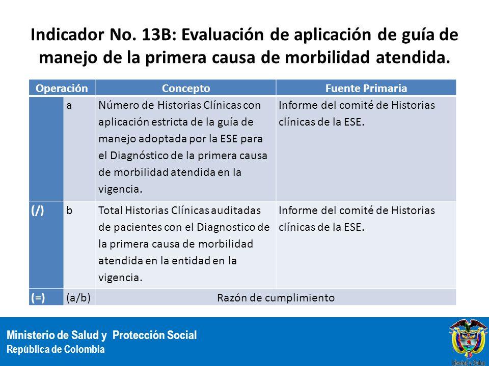 Ministerio de Salud y Protección Social República de Colombia Indicador No. 13B: Evaluación de aplicación de guía de manejo de la primera causa de mor