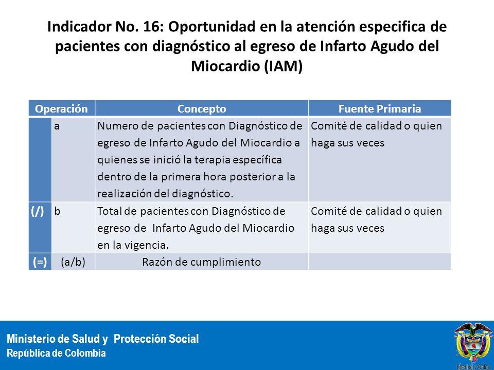 Ministerio de Salud y Protección Social República de Colombia Indicador No. 16: Oportunidad en la atención especifica de pacientes con diagnóstico al