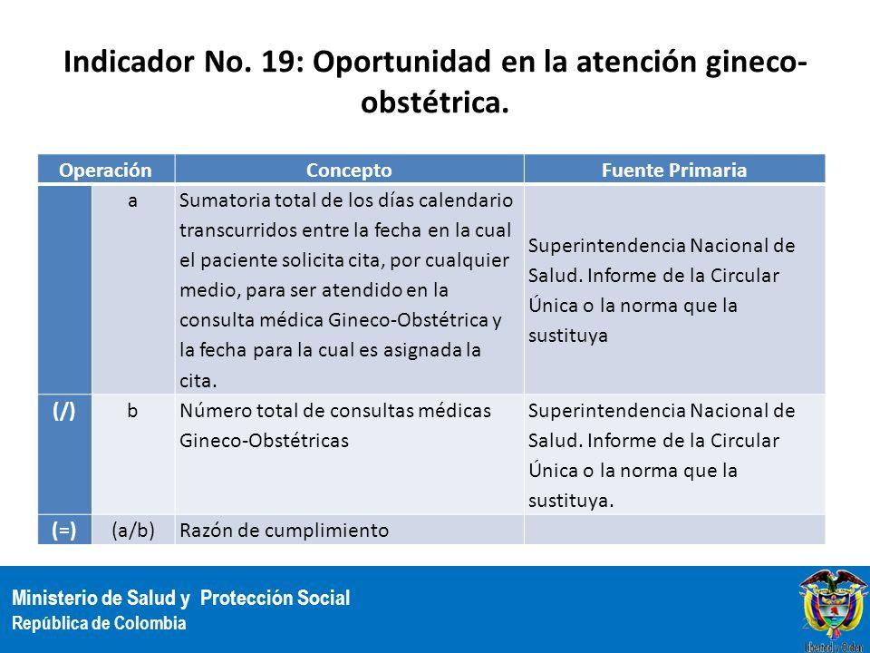 Ministerio de Salud y Protección Social República de Colombia Indicador No. 19: Oportunidad en la atención gineco- obstétrica. OperaciónConceptoFuente