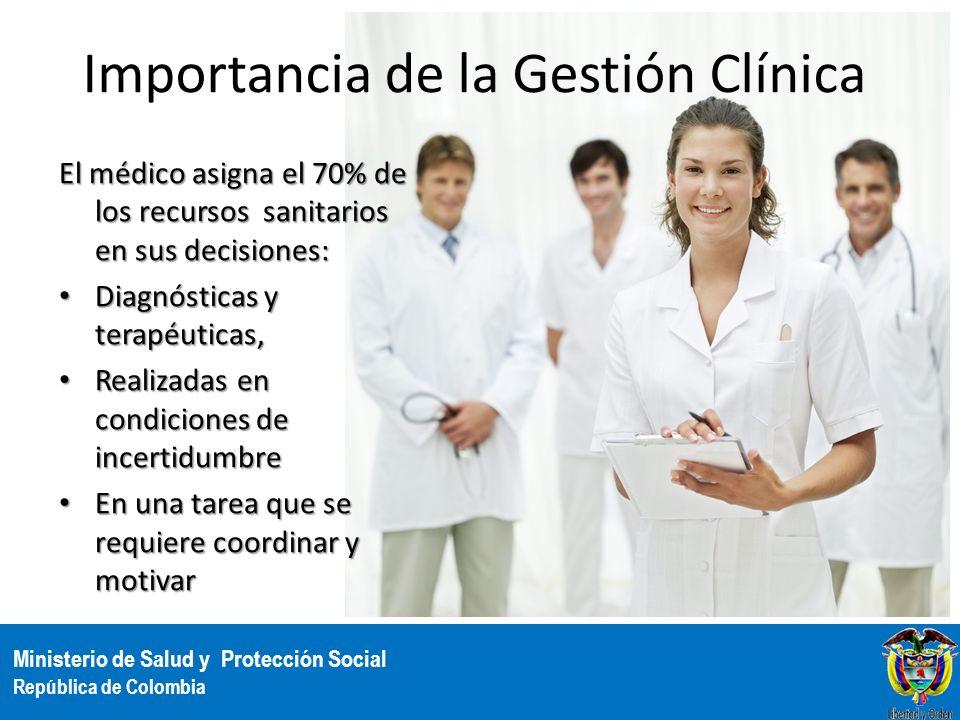 Ministerio de Salud y Protección Social República de Colombia Importancia de la Gestión Clínica El médico asigna el 70% de los recursos sanitarios en