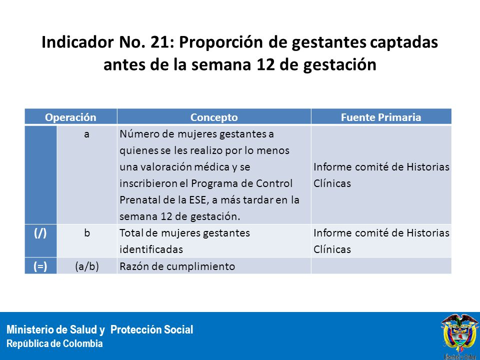 Ministerio de Salud y Protección Social República de Colombia Indicador No. 21: Proporción de gestantes captadas antes de la semana 12 de gestación Op
