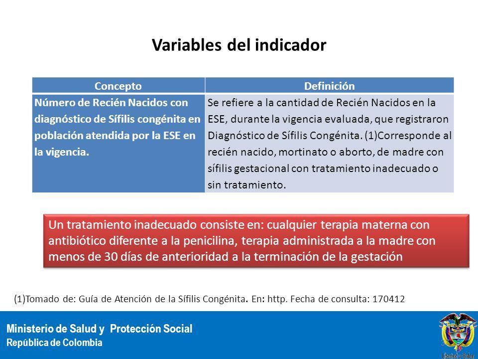Ministerio de Salud y Protección Social República de Colombia Variables del indicador ConceptoDefinición Número de Recién Nacidos con diagnóstico de S
