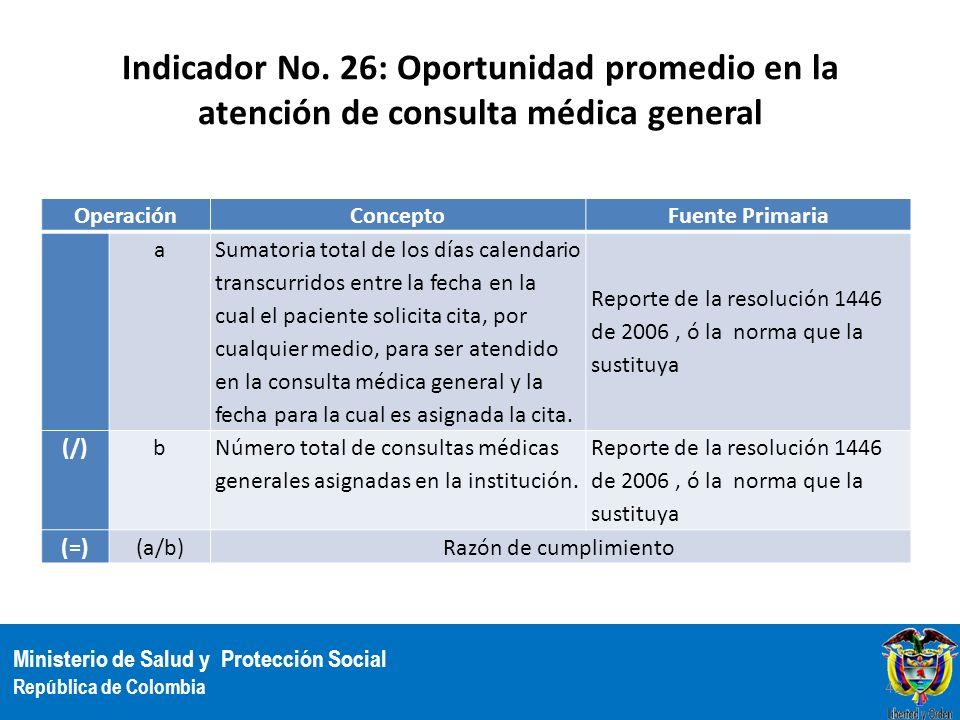Ministerio de Salud y Protección Social República de Colombia Indicador No. 26: Oportunidad promedio en la atención de consulta médica general Operaci