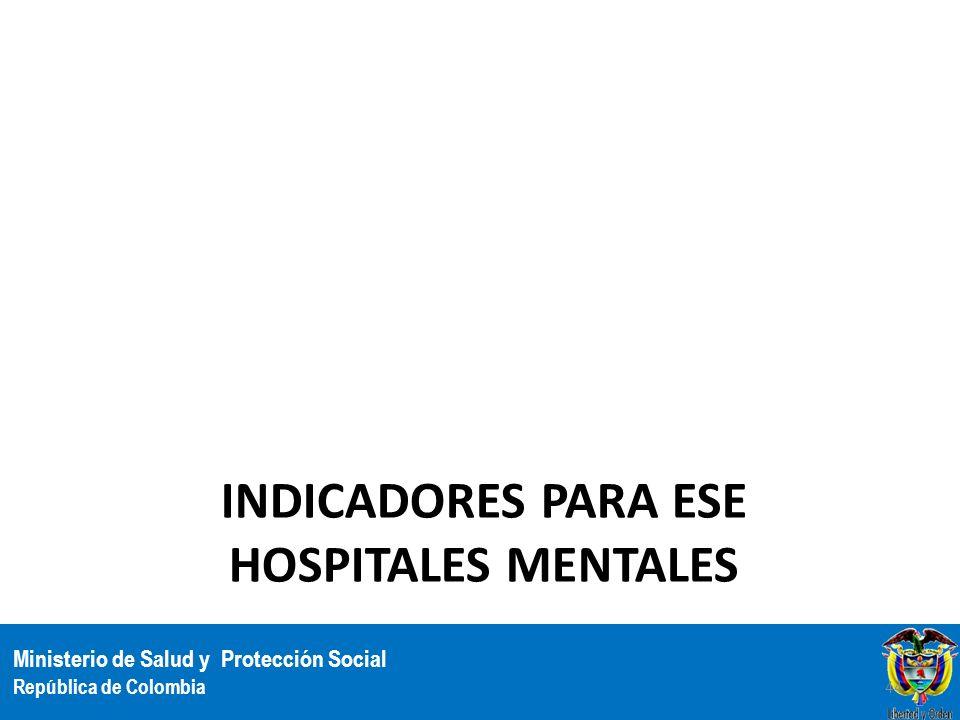 Ministerio de Salud y Protección Social República de Colombia INDICADORES PARA ESE HOSPITALES MENTALES 44