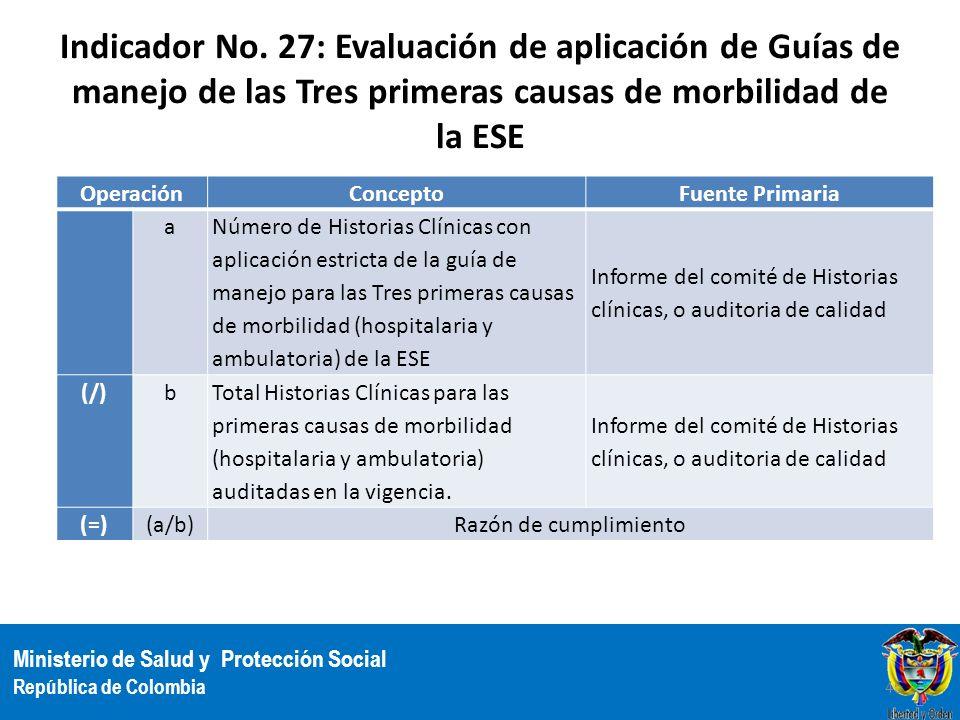 Ministerio de Salud y Protección Social República de Colombia Indicador No. 27: Evaluación de aplicación de Guías de manejo de las Tres primeras causa