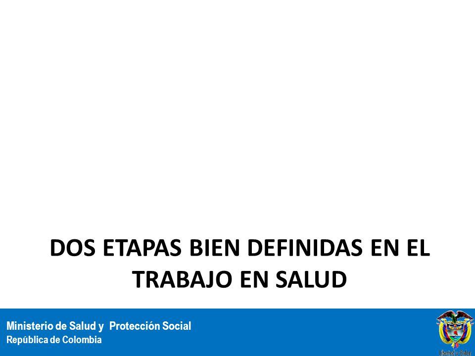 Ministerio de Salud y Protección Social República de Colombia DOS ETAPAS BIEN DEFINIDAS EN EL TRABAJO EN SALUD 8