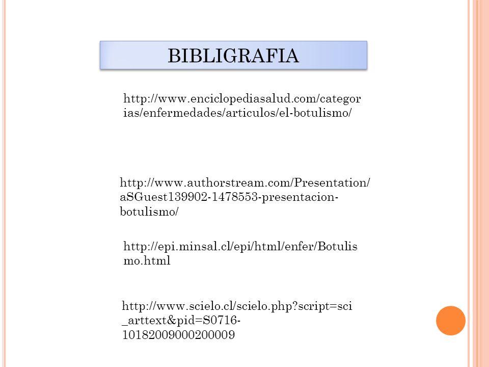 http://www.authorstream.com/Presentation/ aSGuest139902-1478553-presentacion- botulismo/ http://www.enciclopediasalud.com/categor ias/enfermedades/art