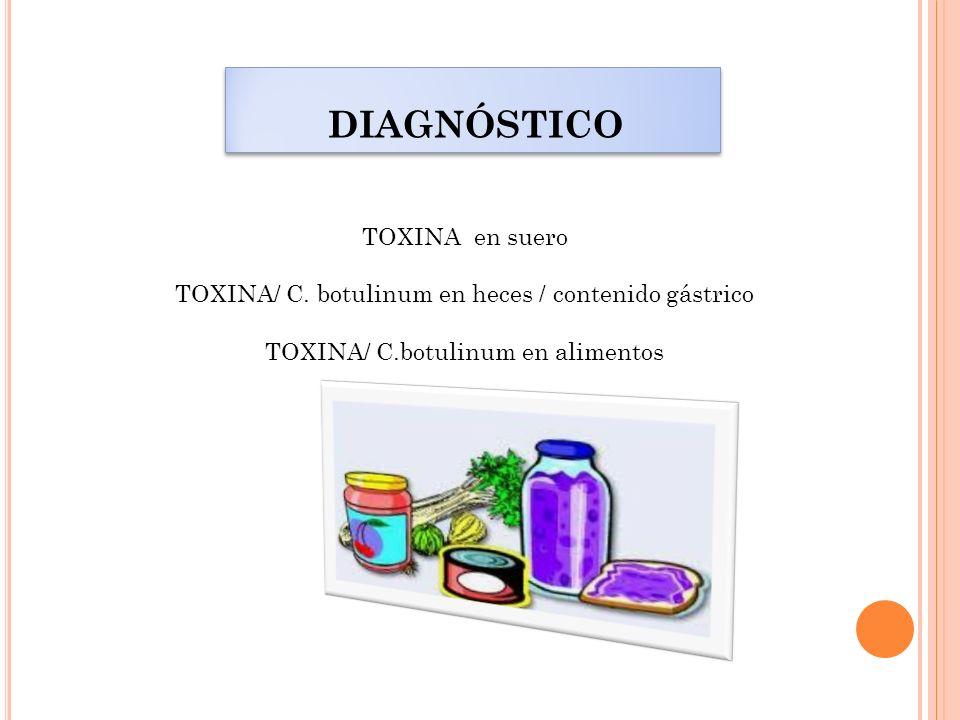 DIAGNÓSTICO TOXINA en suero TOXINA/ C. botulinum en heces / contenido gástrico TOXINA/ C.botulinum en alimentos
