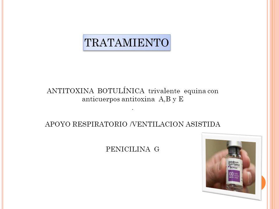 TRATAMIENTO ANTITOXINA BOTULÍNICA trivalente equina con anticuerpos antitoxina A,B y E. APOYO RESPIRATORIO /VENTILACION ASISTIDA PENICILINA G