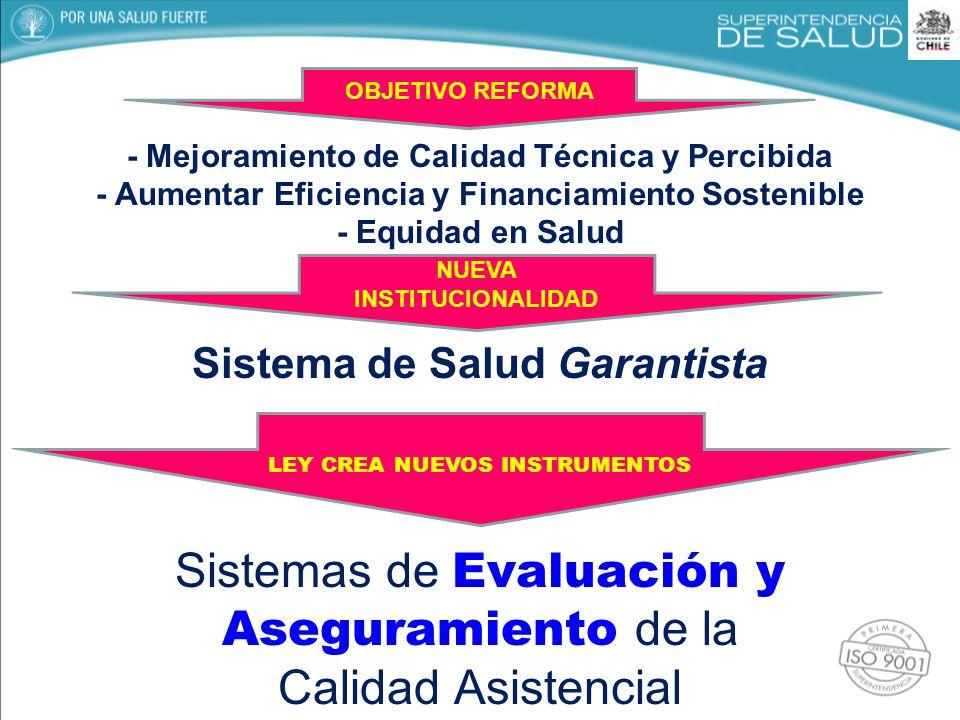 - Mejoramiento de Calidad Técnica y Percibida - Aumentar Eficiencia y Financiamiento Sostenible - Equidad en Salud Sistema de Salud Garantista Sistema