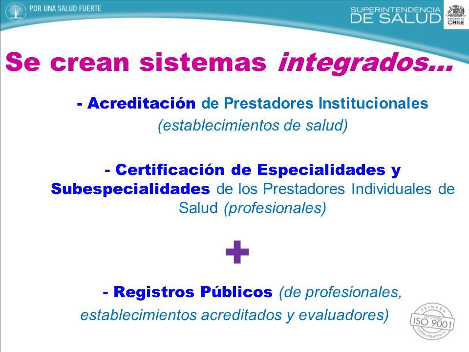 Se crean sistemas integrados… - Acreditación de Prestadores Institucionales (establecimientos de salud) - Certificación de Especialidades y Subespecia