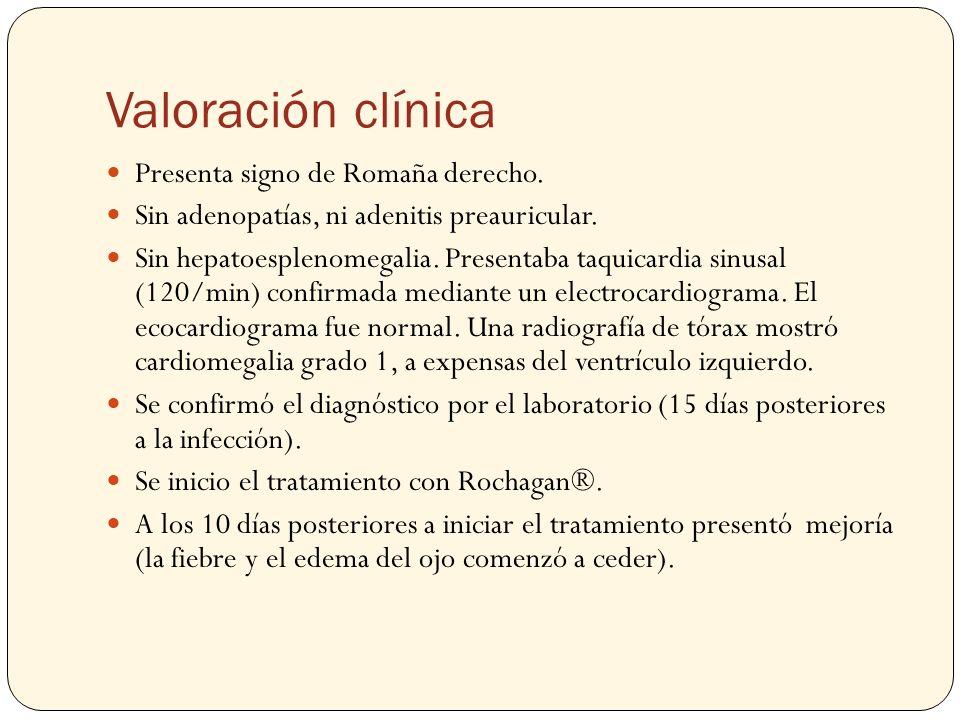 Valoración clínica Presenta signo de Romaña derecho. Sin adenopatías, ni adenitis preauricular. Sin hepatoesplenomegalia. Presentaba taquicardia sinus