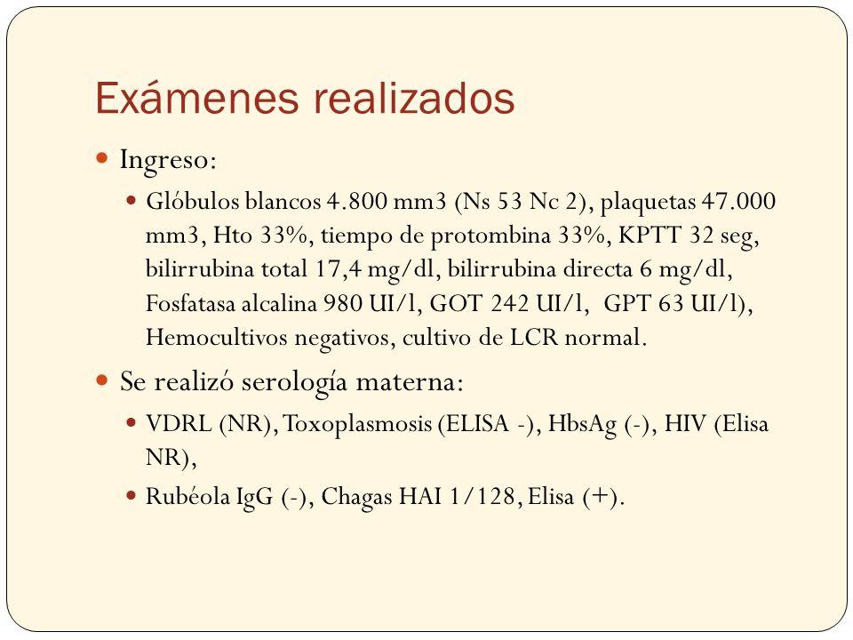 Exámenes realizados Ingreso: Glóbulos blancos 4.800 mm3 (Ns 53 Nc 2), plaquetas 47.000 mm3, Hto 33%, tiempo de protombina 33%, KPTT 32 seg, bilirrubin
