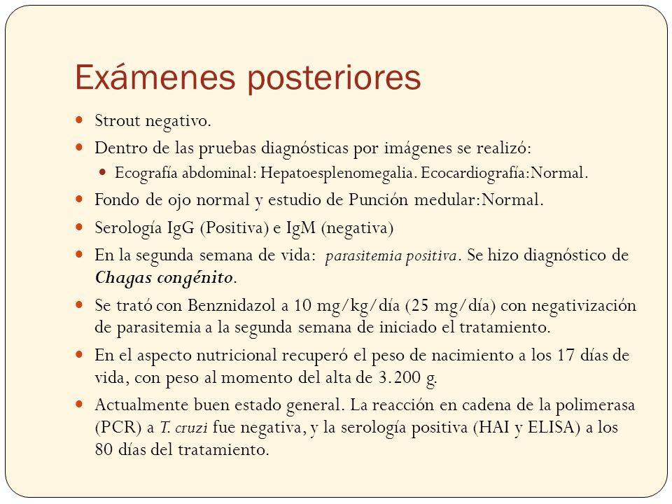 Exámenes posteriores Strout negativo. Dentro de las pruebas diagnósticas por imágenes se realizó: Ecografía abdominal: Hepatoesplenomegalia. Ecocardio