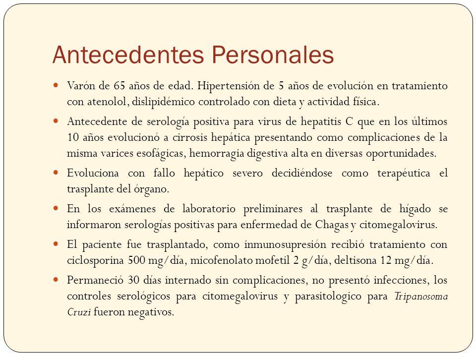 Antecedentes Personales Varón de 65 años de edad. Hipertensión de 5 años de evolución en tratamiento con atenolol, dislipidémico controlado con dieta