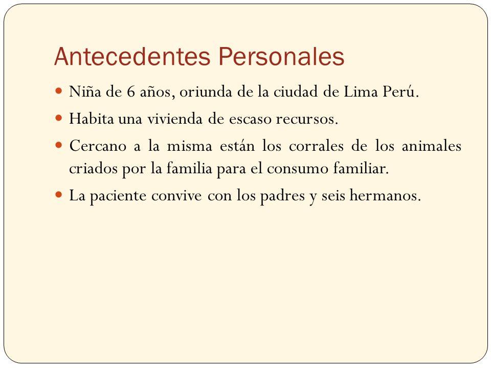 Antecedentes Personales Niña de 6 años, oriunda de la ciudad de Lima Perú. Habita una vivienda de escaso recursos. Cercano a la misma están los corral