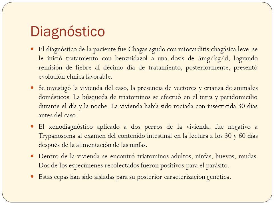 Diagnóstico El diagnóstico de la paciente fue Chagas agudo con miocarditis chagásica leve, se le inició tratamiento con benznidazol a una dosis de 5mg