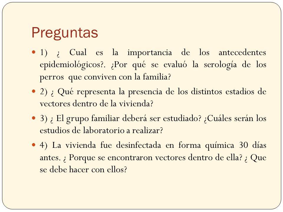 Preguntas 1) ¿ Cual es la importancia de los antecedentes epidemiológicos?. ¿Por qué se evaluó la serología de los perros que conviven con la familia?