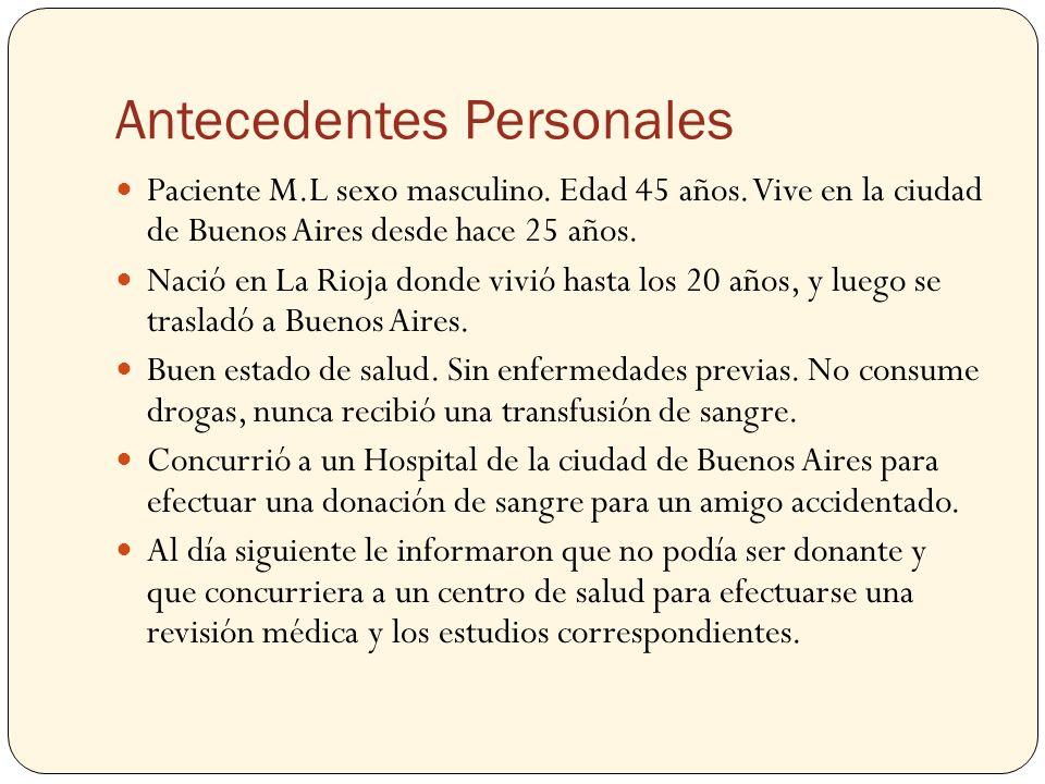 Antecedentes Personales Paciente M.L sexo masculino. Edad 45 años. Vive en la ciudad de Buenos Aires desde hace 25 años. Nació en La Rioja donde vivió