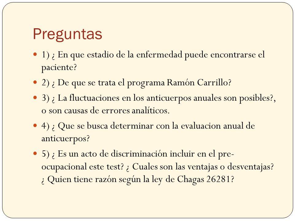 Preguntas 1) ¿ En que estadio de la enfermedad puede encontrarse el paciente? 2) ¿ De que se trata el programa Ramón Carrillo? 3) ¿ La fluctuaciones e
