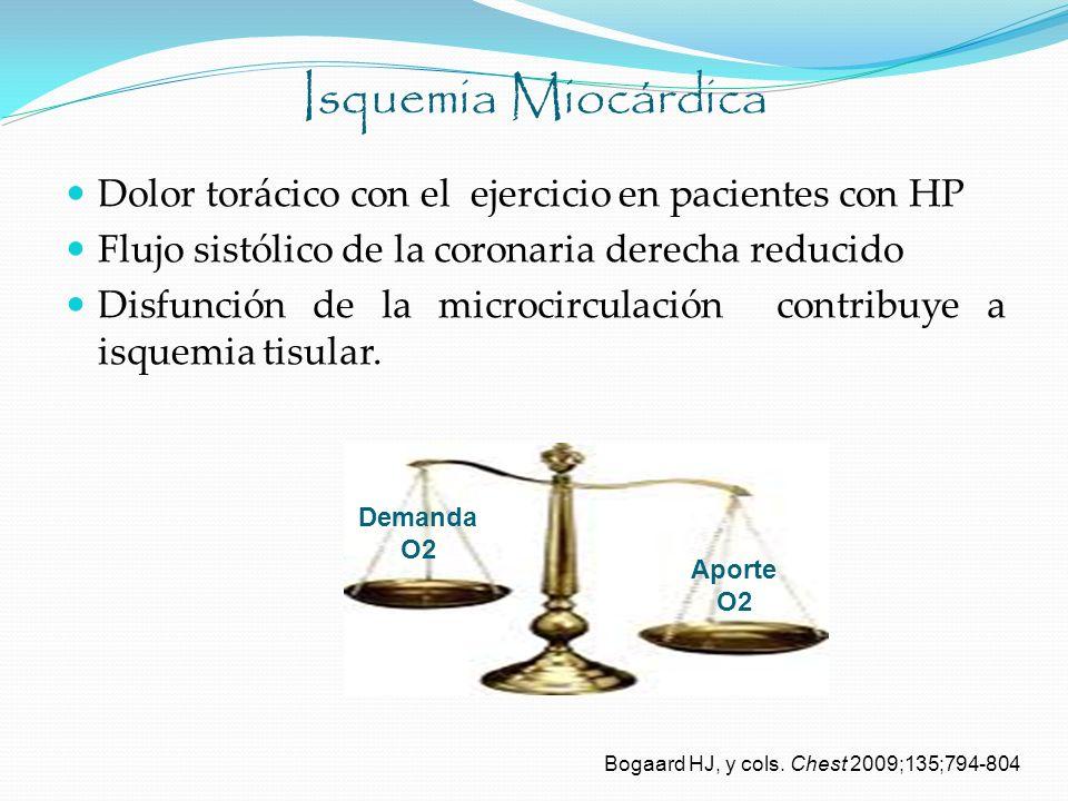 Isquemia Miocárdica Dolor torácico con el ejercicio en pacientes con HP Flujo sistólico de la coronaria derecha reducido Disfunción de la microcircula
