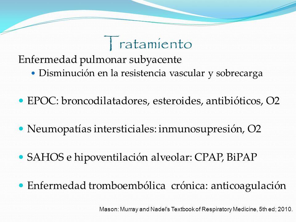 Tratamiento Enfermedad pulmonar subyacente Disminución en la resistencia vascular y sobrecarga EPOC: broncodilatadores, esteroides, antibióticos, O2 N