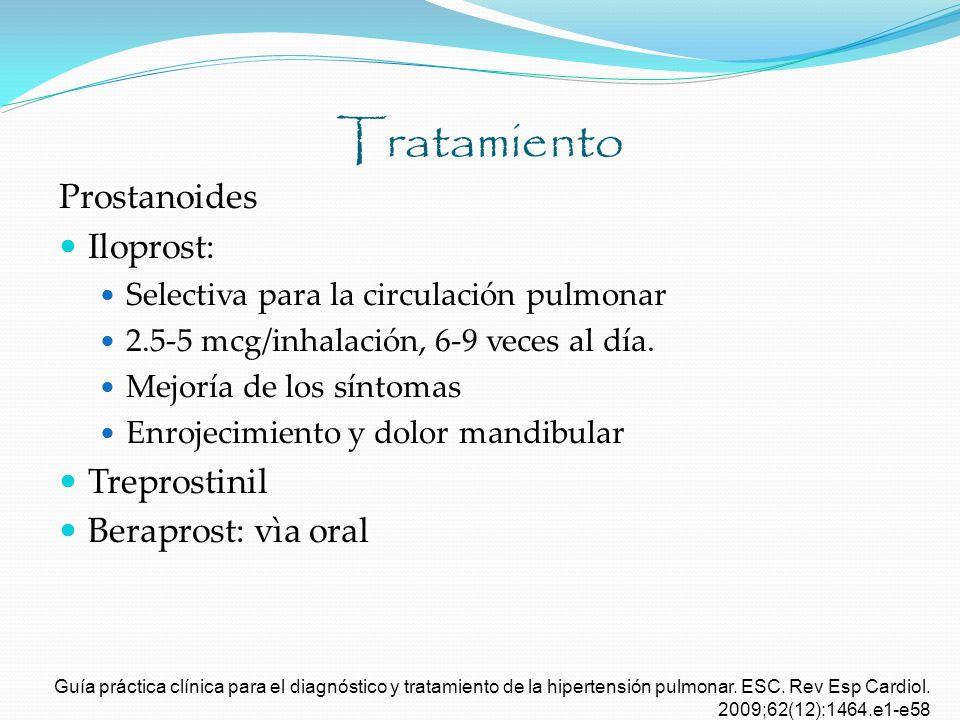 Tratamiento Prostanoides Iloprost: Selectiva para la circulación pulmonar 2.5-5 mcg/inhalación, 6-9 veces al día. Mejoría de los síntomas Enrojecimien