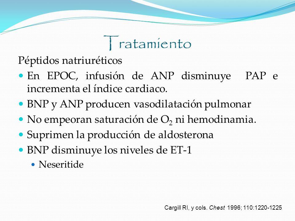Tratamiento Péptidos natriuréticos En EPOC, infusión de ANP disminuye PAP e incrementa el índice cardiaco. BNP y ANP producen vasodilatación pulmonar