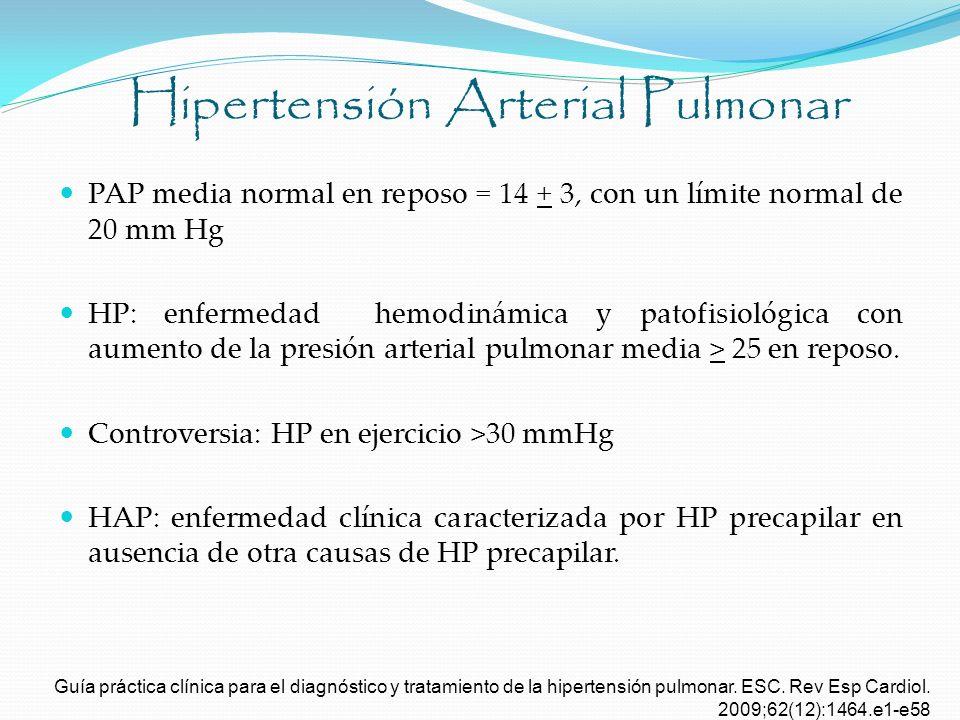 Hipertensión Arterial Pulmonar PAP media normal en reposo = 14 + 3, con un límite normal de 20 mm Hg HP: enfermedad hemodinámica y patofisiológica con